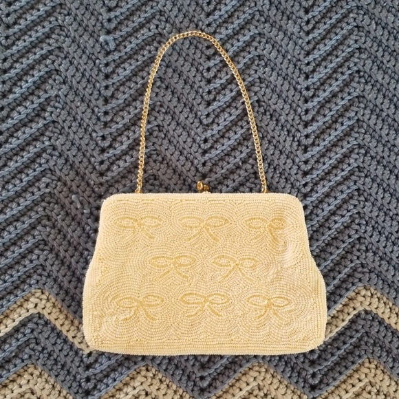 Vintage Handbags - VTG 60s Ivory Beaded Purse